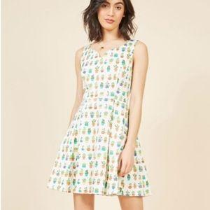 Modcloth IXIA Potted Cactus Print Summer Dress